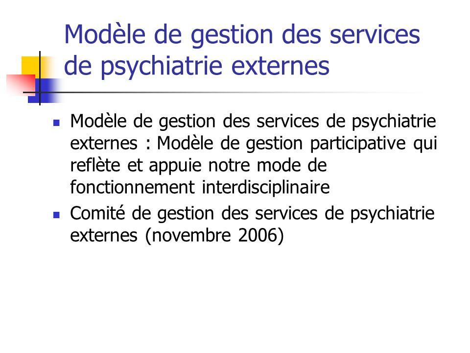 Modèle de gestion des services de psychiatrie externes Modèle de gestion des services de psychiatrie externes : Modèle de gestion participative qui re