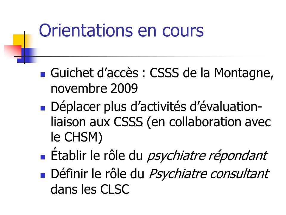 Orientations en cours Guichet daccès : CSSS de la Montagne, novembre 2009 Déplacer plus dactivités dévaluation- liaison aux CSSS (en collaboration ave