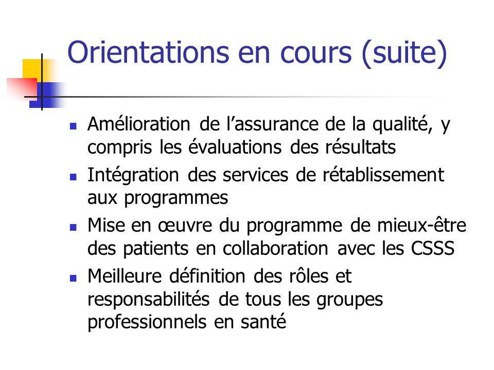 Orientations en cours (suite) Amélioration de lassurance de la qualité, y compris les évaluations des résultats Intégration des services de rétablisse