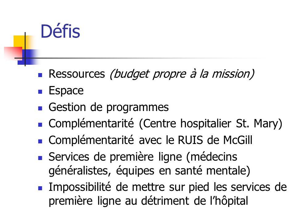 Défis Ressources (budget propre à la mission) Espace Gestion de programmes Complémentarité (Centre hospitalier St. Mary) Complémentarité avec le RUIS
