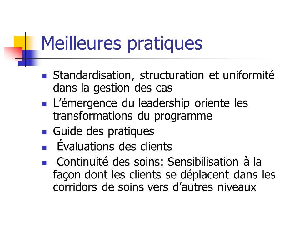 Meilleures pratiques Standardisation, structuration et uniformité dans la gestion des cas Lémergence du leadership oriente les transformations du prog
