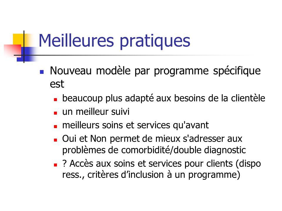 Meilleures pratiques Nouveau modèle par programme spécifique est beaucoup plus adapté aux besoins de la clientèle un meilleur suivi meilleurs soins et