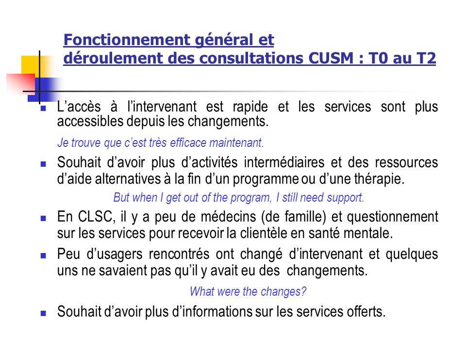 Fonctionnement général et déroulement des consultations CUSM : T0 au T2 Laccès à lintervenant est rapide et les services sont plus accessibles depuis