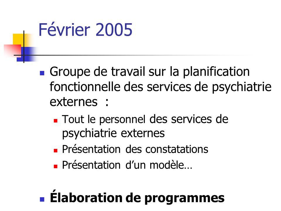 Février 2005 Groupe de travail sur la planification fonctionnelle des services de psychiatrie externes : Tout le personnel des services de psychiatrie
