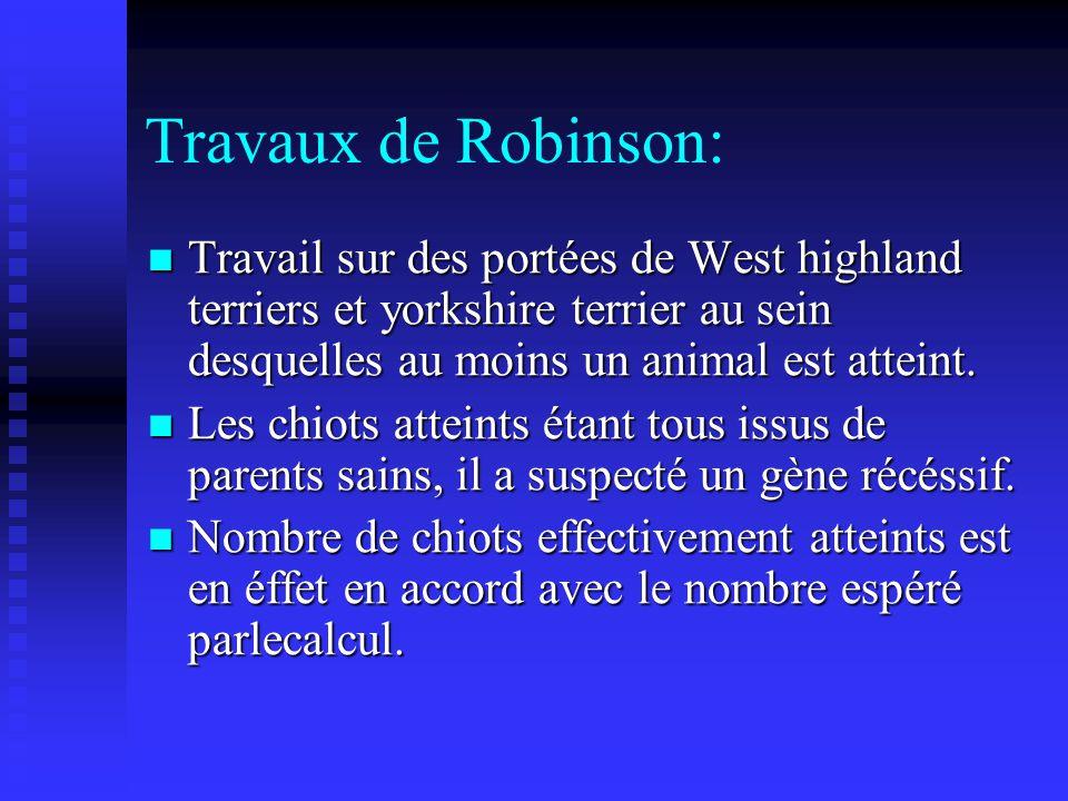 Travaux de Robinson: Travail sur des portées de West highland terriers et yorkshire terrier au sein desquelles au moins un animal est atteint. Travail