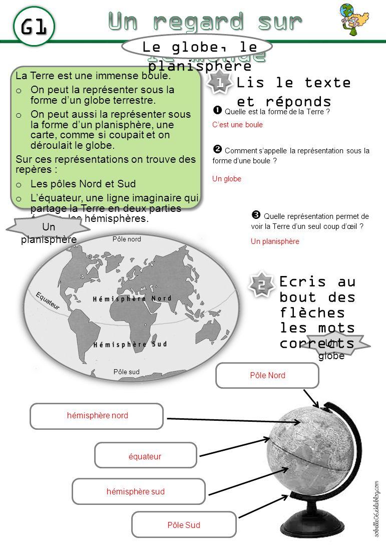 La Terre est une immense boule. o On peut la représenter sous la forme dun globe terrestre. o On peut aussi la représenter sous la forme dun planisphè