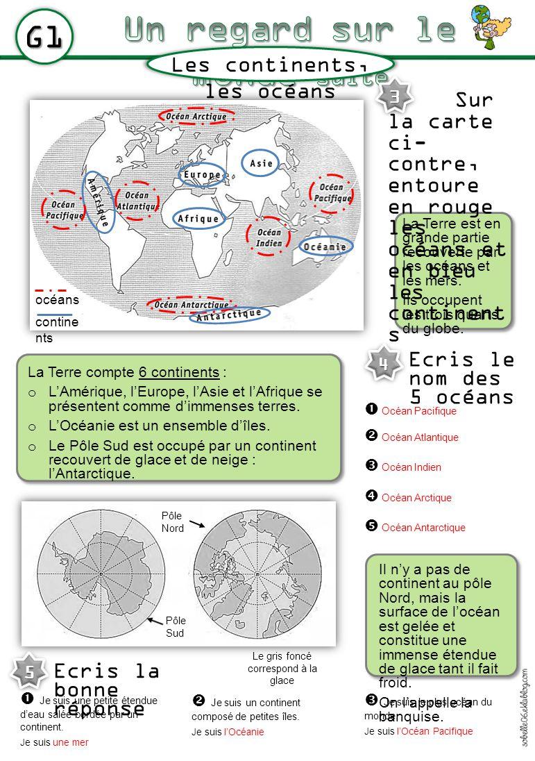 G1 Les continents, les océans La Terre est en grande partie recouverte par les océans et les mers. Ils occupent les trois quarts du globe. La Terre co