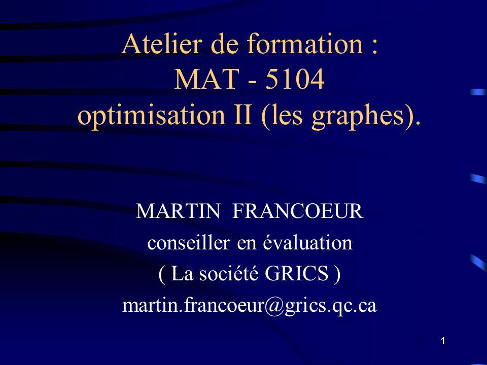 1 Atelier de formation : MAT - 5104 optimisation II (les graphes).