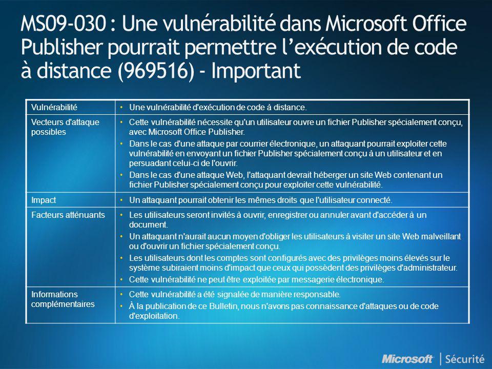 MS09-030 : Une vulnérabilité dans Microsoft Office Publisher pourrait permettre lexécution de code à distance (969516) - Important VulnérabilitéUne vulnérabilité d exécution de code à distance.