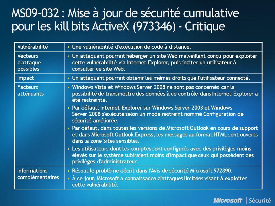 MS09-032 : Mise à jour de sécurité cumulative pour les kill bits ActiveX (973346) - Critique VulnérabilitéUne vulnérabilité d exécution de code à distance.