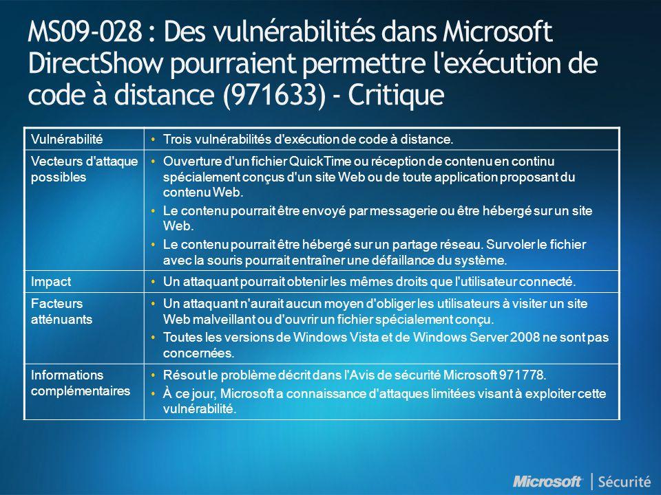 MS09-028 : Des vulnérabilités dans Microsoft DirectShow pourraient permettre l exécution de code à distance (971633) - Critique VulnérabilitéTrois vulnérabilités d exécution de code à distance.