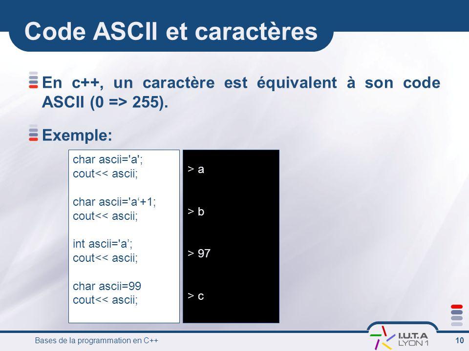 Bases de la programmation en C++ 10 Code ASCII et caractères En c++, un caractère est équivalent à son code ASCII (0 => 255). Exemple: char ascii='a';