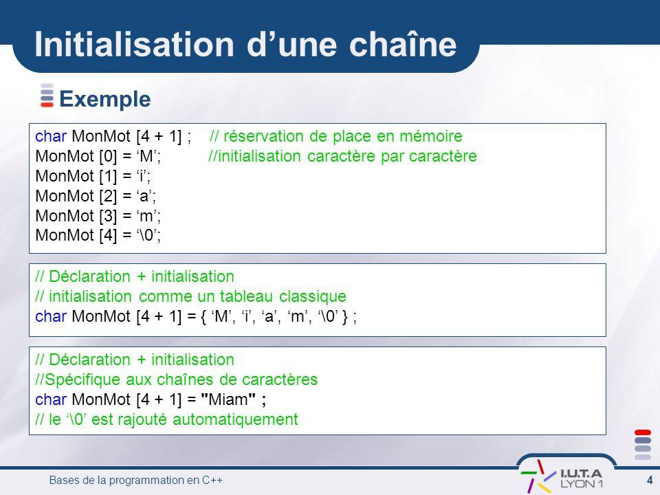 Bases de la programmation en C++ 4 Initialisation dune chaîne Exemple char MonMot [4 + 1] ; // réservation de place en mémoire MonMot [0] = M; //initi