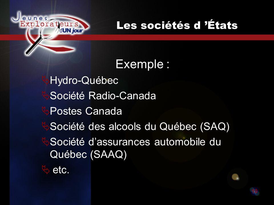 Jeunes explorateurs d un jour10 Les sociétés d États Exemple : Hydro-Québec Société Radio-Canada Postes Canada Société des alcools du Québec (SAQ) Société dassurances automobile du Québec (SAAQ) etc.