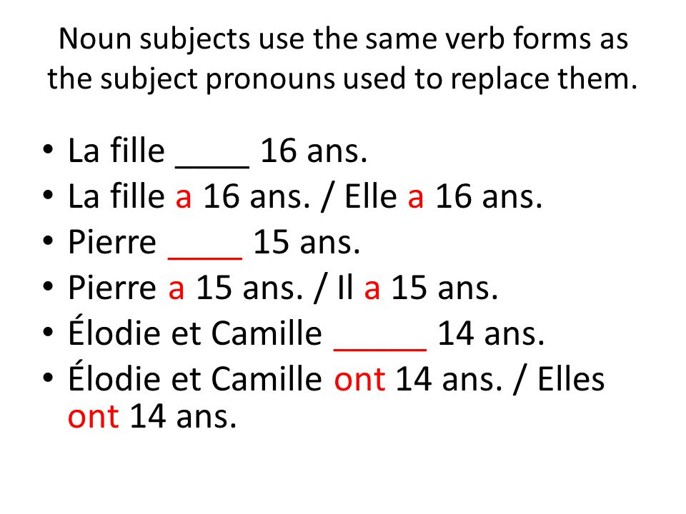 Noun subjects use the same verb forms as the subject pronouns used to replace them. La fille ____ 16 ans. La fille a 16 ans. / Elle a 16 ans. Pierre _