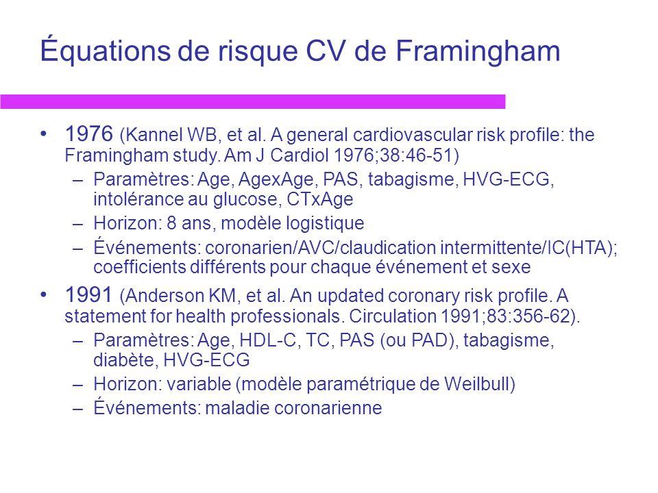 Équations de risque CV de Framingham 1976 (Kannel WB, et al. A general cardiovascular risk profile: the Framingham study. Am J Cardiol 1976;38:46-51)