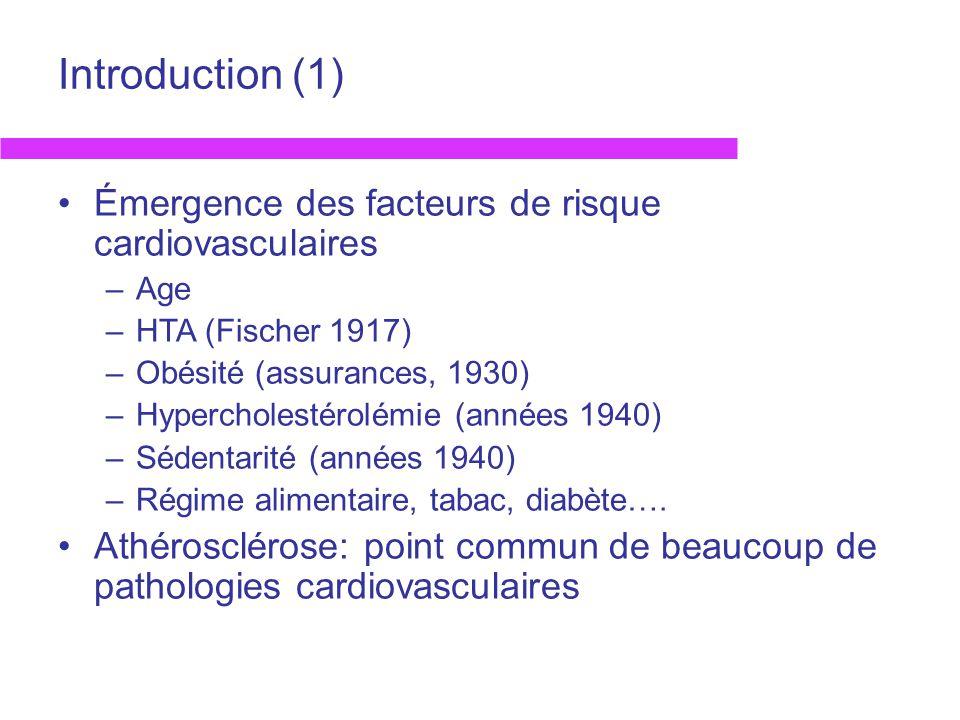 Introduction (1) Émergence des facteurs de risque cardiovasculaires –Age –HTA (Fischer 1917) –Obésité (assurances, 1930) –Hypercholestérolémie (années