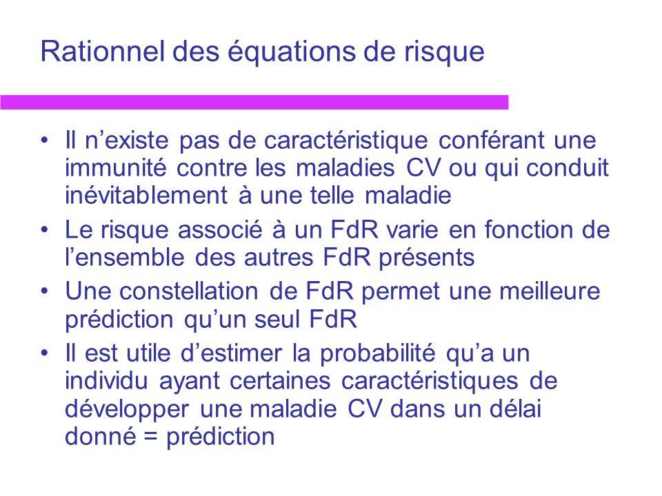 Rationnel des équations de risque Il nexiste pas de caractéristique conférant une immunité contre les maladies CV ou qui conduit inévitablement à une