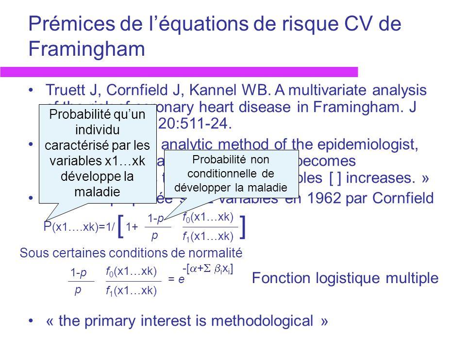 Prémices de léquations de risque CV de Framingham: résultats Fichier: 2187 hommes et 2669 femmes, 30-62 ans, sans maladie CV à linclusion, suivis 12 ans Facteurs de risque étudiés –Age (ans) –CT (mg/100 mL) –PAS (mmHg) –Poids relatif (Framingham) –Hb (g/100 mL) –Cigarettes / jour (0=jamais, 1= 1p/j) –ECG (0=normal, 1=HVG / anomalie aspécifique / BdB)