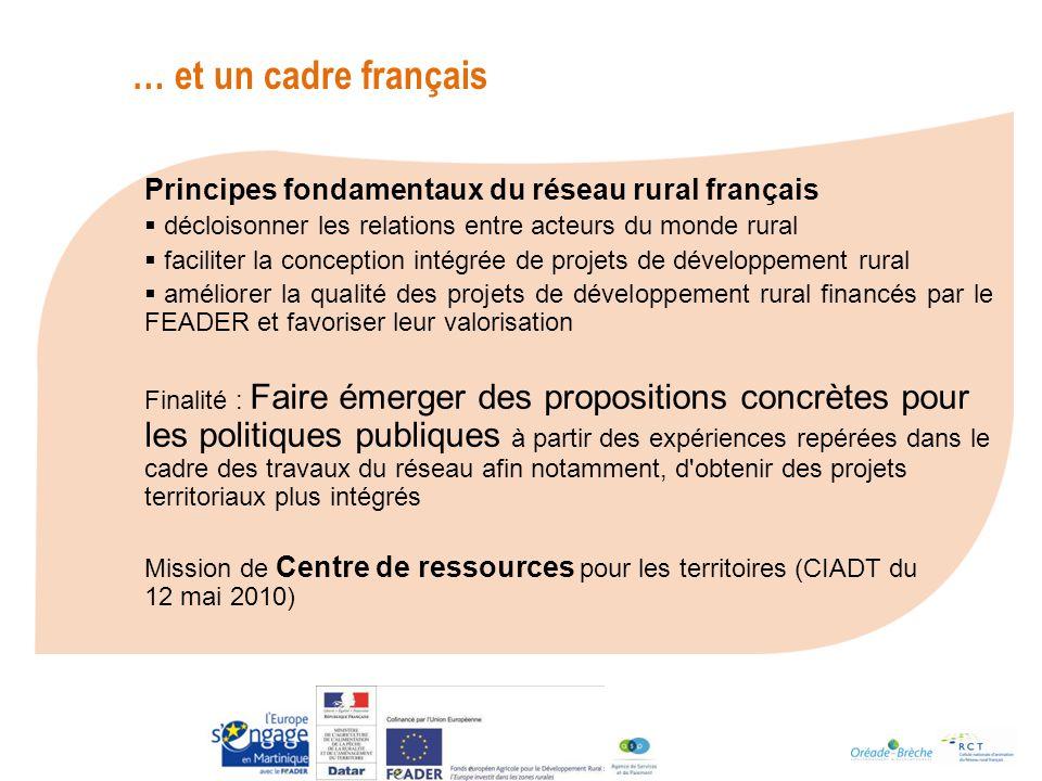 Principes fondamentaux du réseau rural français décloisonner les relations entre acteurs du monde rural faciliter la conception intégrée de projets de développement rural améliorer la qualité des projets de développement rural financés par le FEADER et favoriser leur valorisation Finalité : Faire émerger des propositions concrètes pour les politiques publiques à partir des expériences repérées dans le cadre des travaux du réseau afin notamment, d obtenir des projets territoriaux plus intégrés Mission de Centre de ressources pour les territoires (CIADT du 12 mai 2010) … et un cadre français