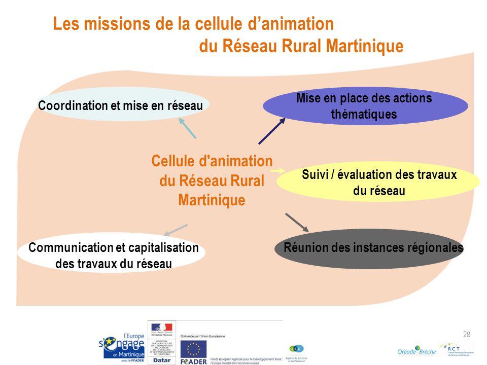 28 Cellule d animation du Réseau Rural Martinique Réunion des instances régionales Mise en place des actions thématiques Coordination et mise en réseau Communication et capitalisation des travaux du réseau Suivi / évaluation des travaux du réseau Les missions de la cellule danimation du Réseau Rural Martinique