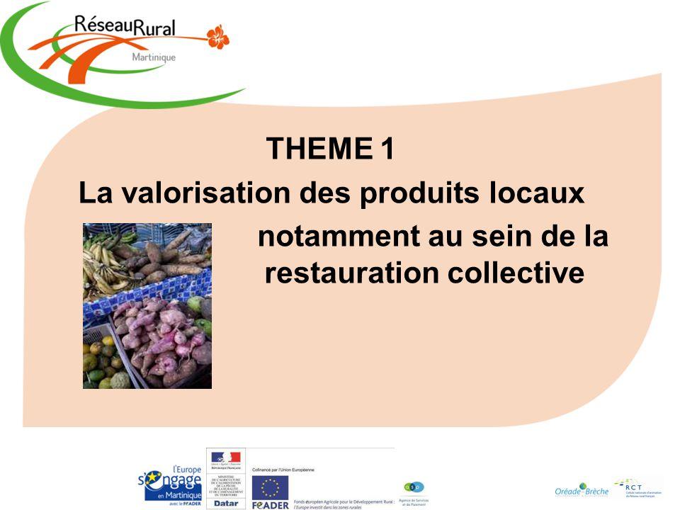 THEME 1 La valorisation des produits locaux notamment au sein de la restauration collective