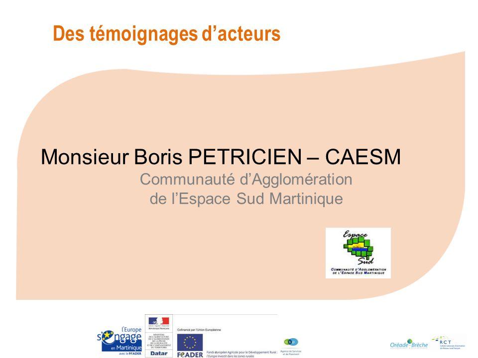 Monsieur Boris PETRICIEN – CAESM Communauté dAgglomération de lEspace Sud Martinique Des témoignages dacteurs