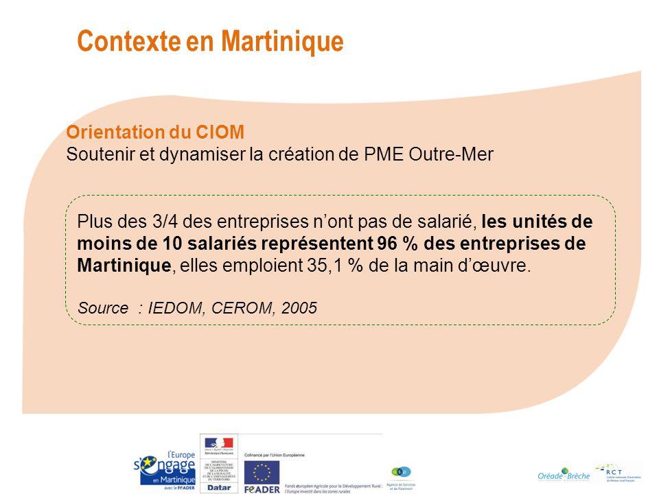 Plus des 3/4 des entreprises nont pas de salarié, les unités de moins de 10 salariés représentent 96 % des entreprises de Martinique, elles emploient 35,1 % de la main dœuvre.