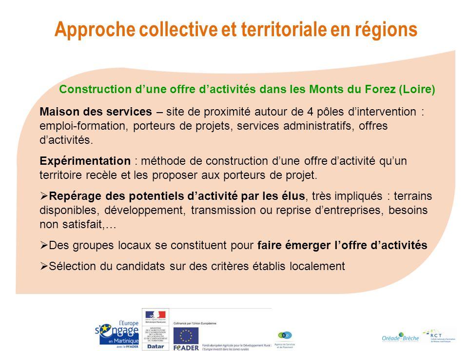 Construction dune offre dactivités dans les Monts du Forez (Loire) Approche collective et territoriale en régions Maison des services – site de proximité autour de 4 pôles dintervention : emploi-formation, porteurs de projets, services administratifs, offres dactivités.