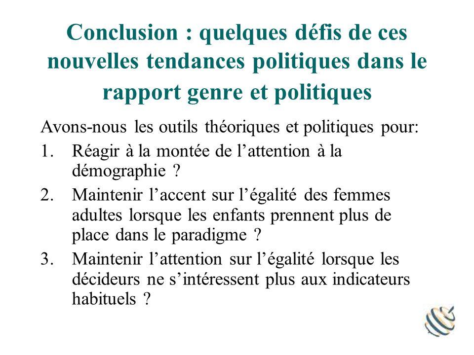 Conclusion : quelques défis de ces nouvelles tendances politiques dans le rapport genre et politiques Avons-nous les outils théoriques et politiques pour: 1.Réagir à la montée de lattention à la démographie .