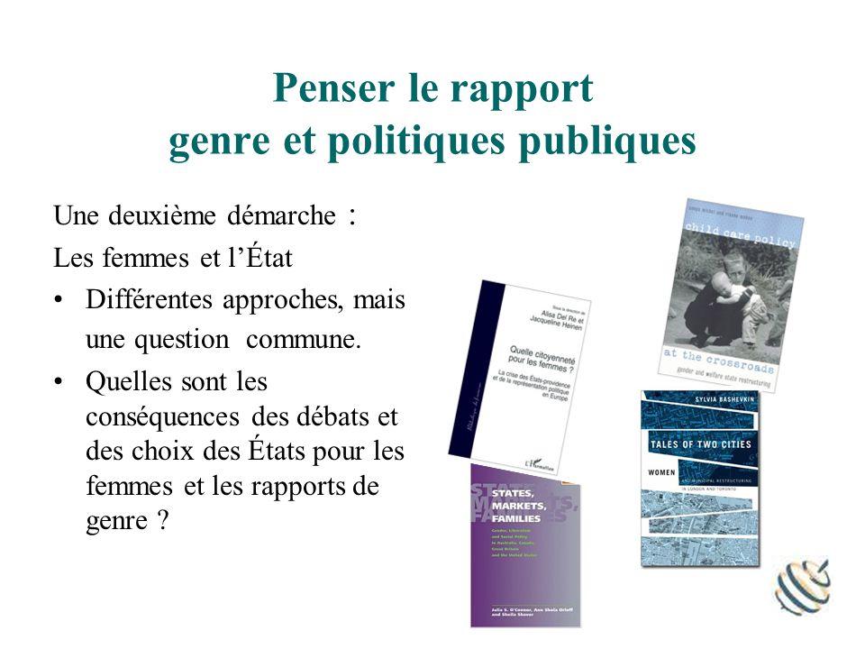 Penser le rapport genre et politiques publiques Une deuxième démarche : Les femmes et lÉtat Différentes approches, mais une question commune.