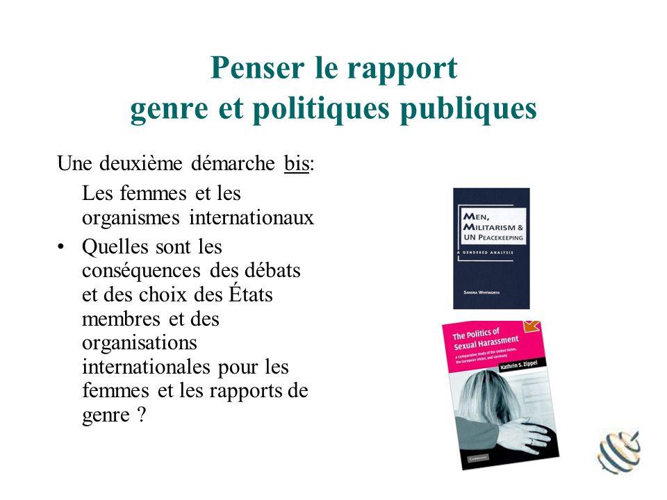 Penser le rapport genre et politiques publiques Une deuxième démarche bis: Les femmes et les organismes internationaux Quelles sont les conséquences des débats et des choix des États membres et des organisations internationales pour les femmes et les rapports de genre