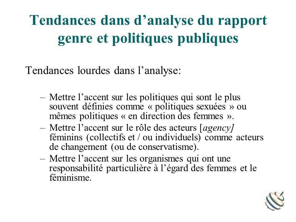 Tendances dans danalyse du rapport genre et politiques publiques Tendances lourdes dans lanalyse: –Mettre laccent sur les politiques qui sont le plus souvent définies comme « politiques sexuées » ou mêmes politiques « en direction des femmes ».