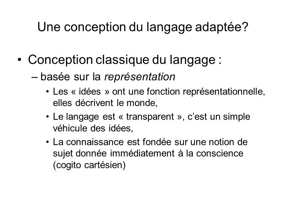 Une conception du langage adaptée? Conception classique du langage : –basée sur la représentation Les « idées » ont une fonction représentationnelle,