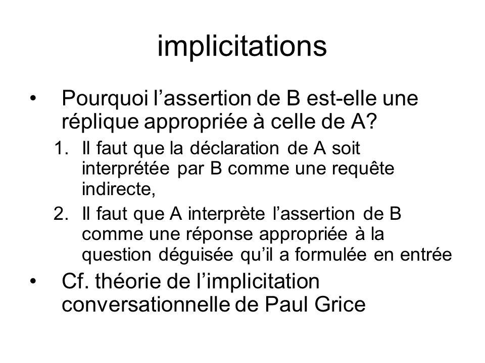 implicitations Pourquoi lassertion de B est-elle une réplique appropriée à celle de A? 1.Il faut que la déclaration de A soit interprétée par B comme