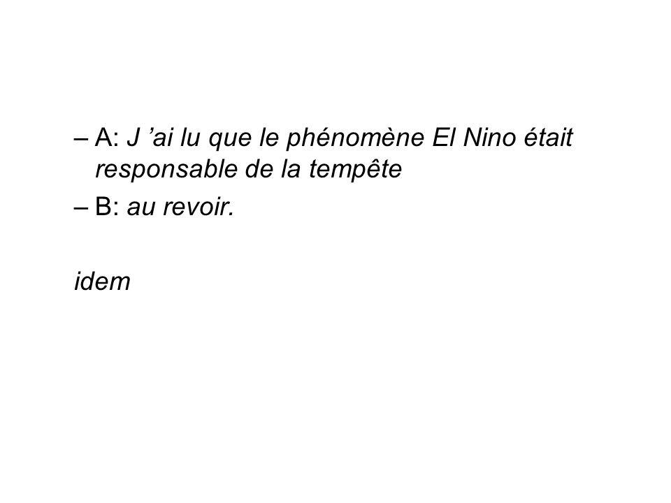 –A: J ai lu que le phénomène El Nino était responsable de la tempête –B: au revoir. idem
