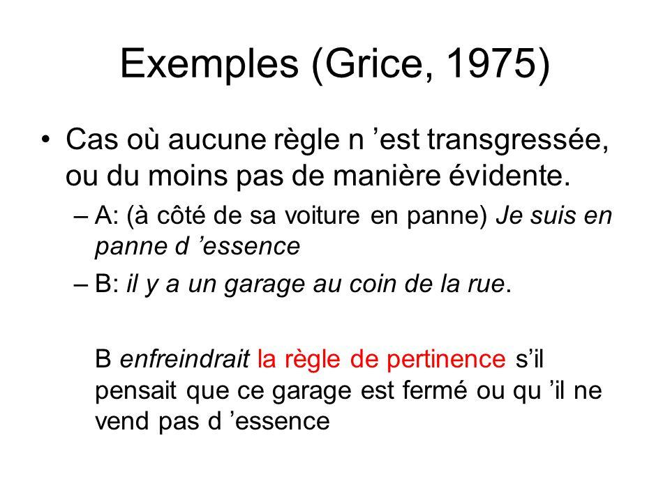 Exemples (Grice, 1975) Cas où aucune règle n est transgressée, ou du moins pas de manière évidente. –A: (à côté de sa voiture en panne) Je suis en pan