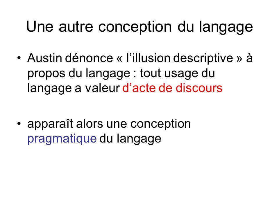 Une autre conception du langage Austin dénonce « lillusion descriptive » à propos du langage : tout usage du langage a valeur dacte de discours appara