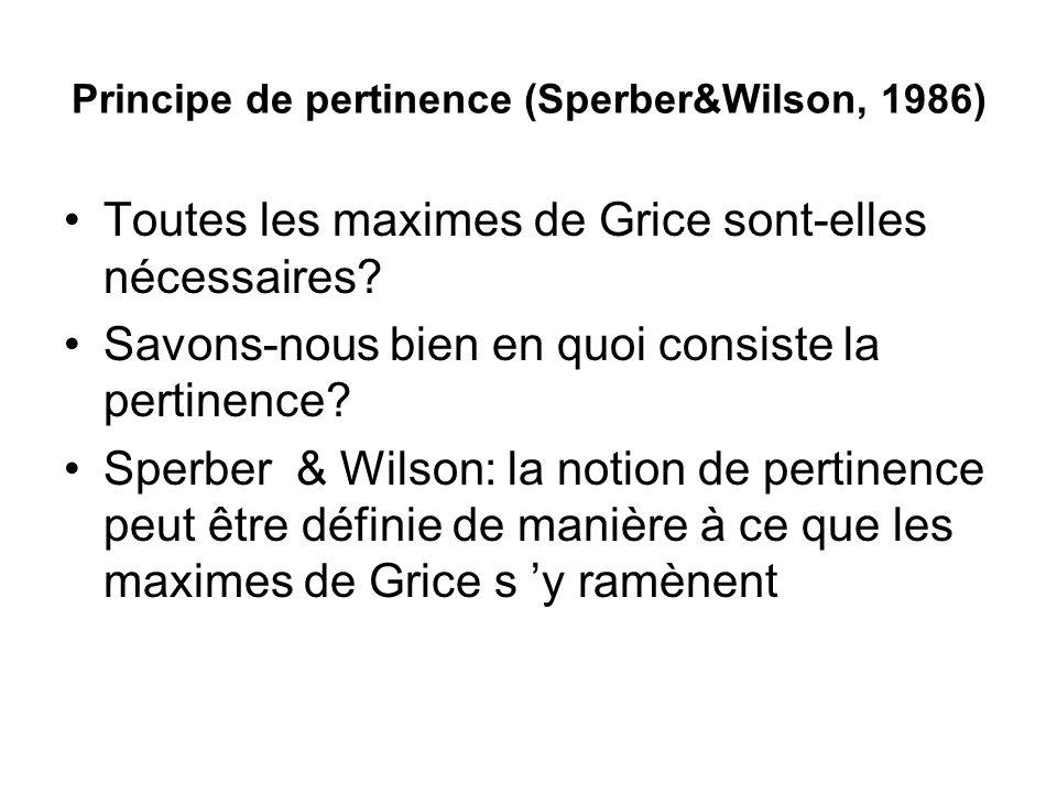 Principe de pertinence (Sperber&Wilson, 1986) Toutes les maximes de Grice sont-elles nécessaires? Savons-nous bien en quoi consiste la pertinence? Spe