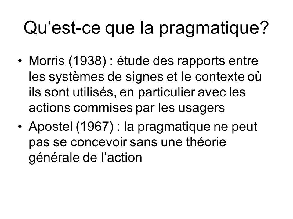 Quest-ce que la pragmatique? Morris (1938) : étude des rapports entre les systèmes de signes et le contexte où ils sont utilisés, en particulier avec