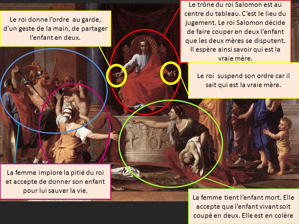 Le trône du roi Salomon est au centre du tableau.Cest le lieu du jugement.