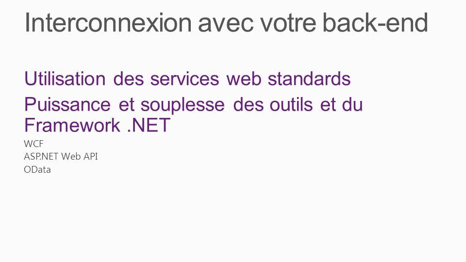 Interconnexion avec votre back-end Utilisation des services web standards Puissance et souplesse des outils et du Framework.NET WCF ASP.NET Web API OData