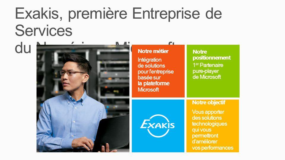 Exakis, première Entreprise de Services du Numérique Microsoft Notre positionnement 1 er Partenaire pure-player de Microsoft Notre objectif Vous apporter des solutions technologiques qui vous permettront daméliorer vos performances Notre métier Intégration de solutions pour l entreprise basée sur la plateforme Microsoft