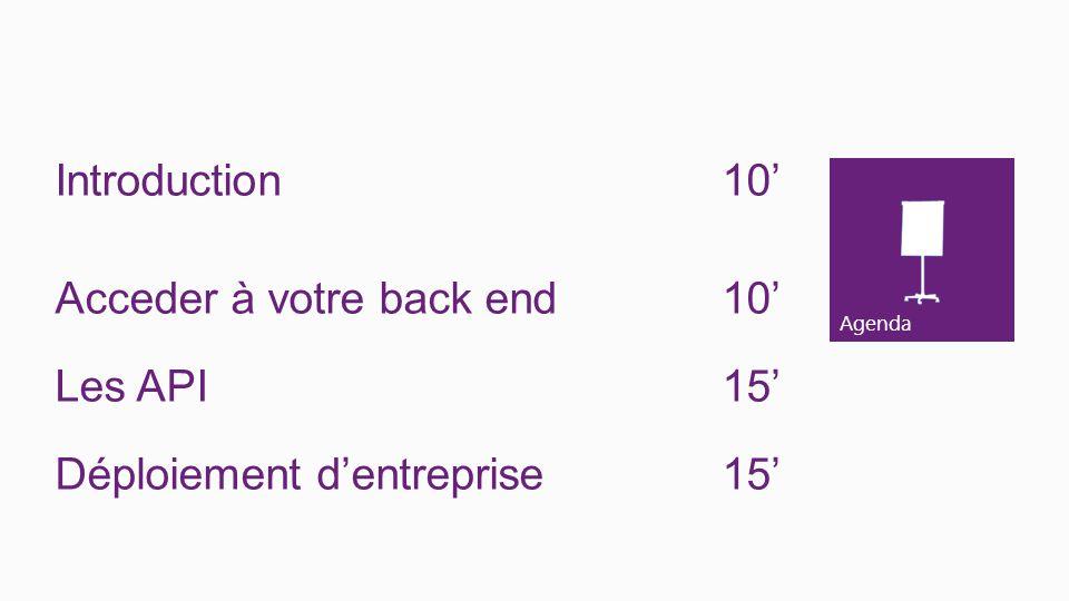 Agenda Introduction10 Acceder à votre back end10 Les API15 Déploiement dentreprise15