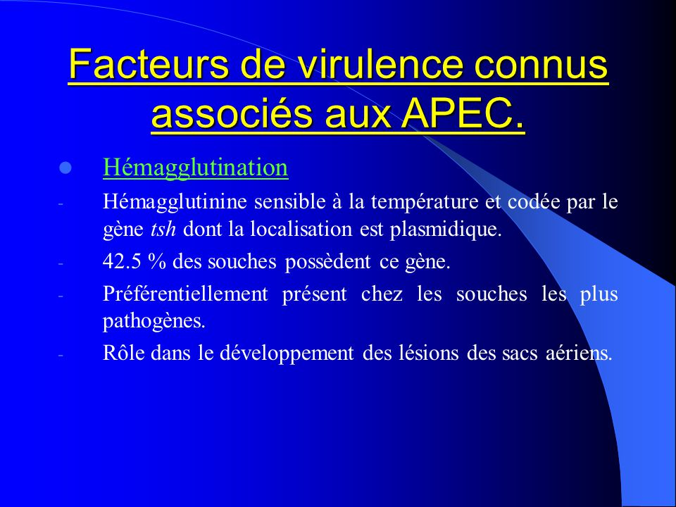 Facteurs de virulence connus associés aux APEC. Hémagglutination - Hémagglutinine sensible à la température et codée par le gène tsh dont la localisat