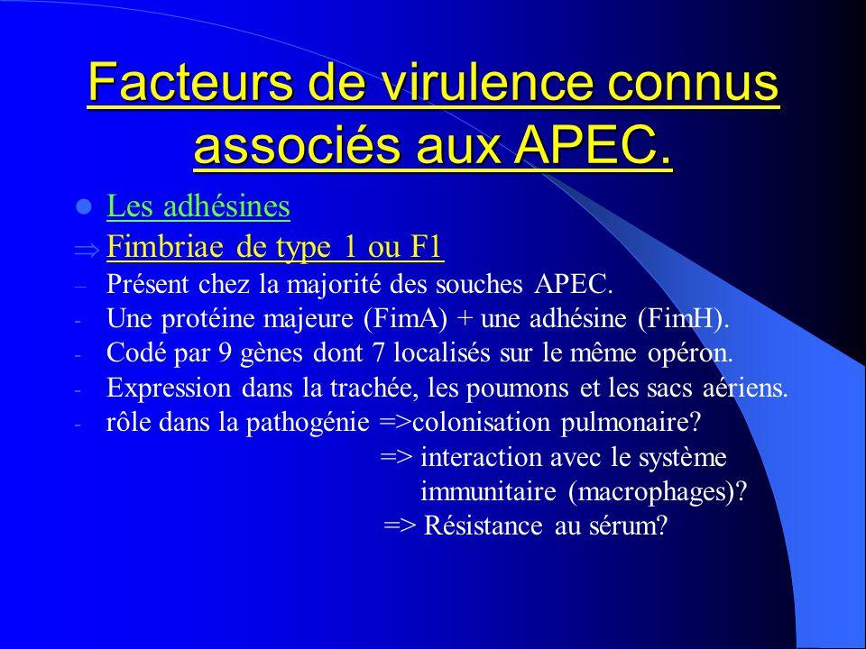Facteurs de virulence connus associés aux APEC. Les adhésines Fimbriae de type 1 ou F1 Présent chez la majorité des souches APEC. - Une protéine majeu