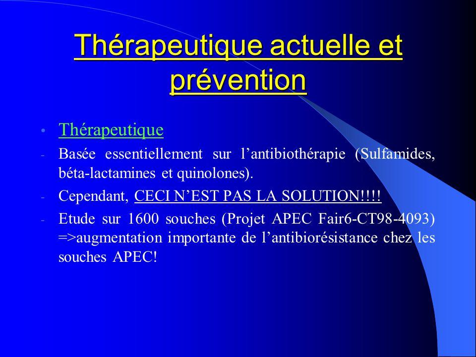 Thérapeutique actuelle et prévention Thérapeutique - Basée essentiellement sur lantibiothérapie (Sulfamides, béta-lactamines et quinolones). - Cependa