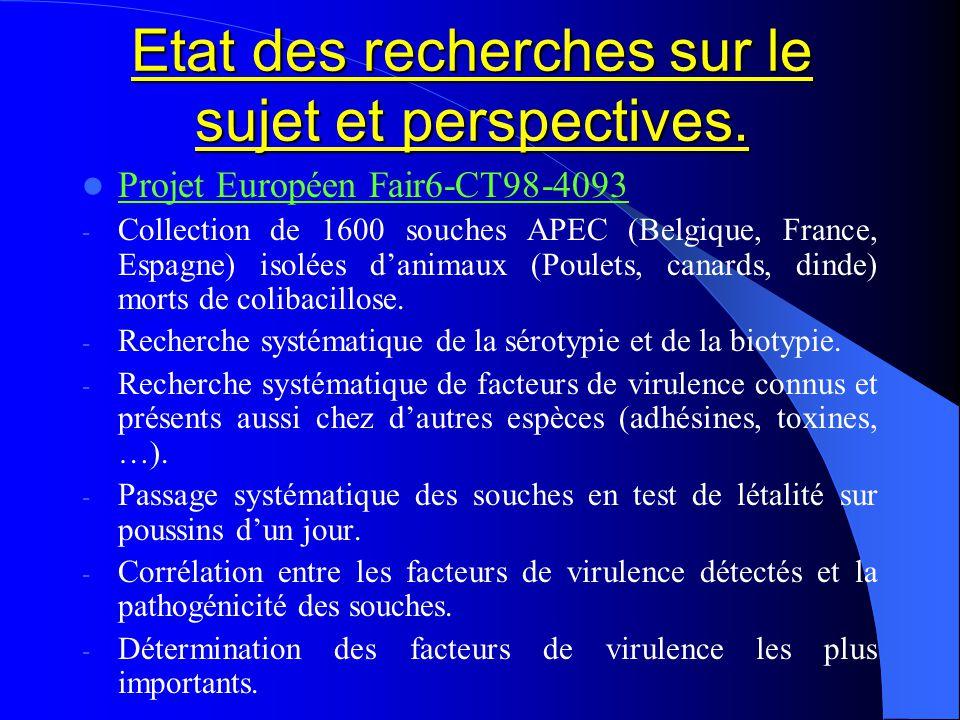 Etat des recherches sur le sujet et perspectives. Projet Européen Fair6-CT98-4093 - Collection de 1600 souches APEC (Belgique, France, Espagne) isolée