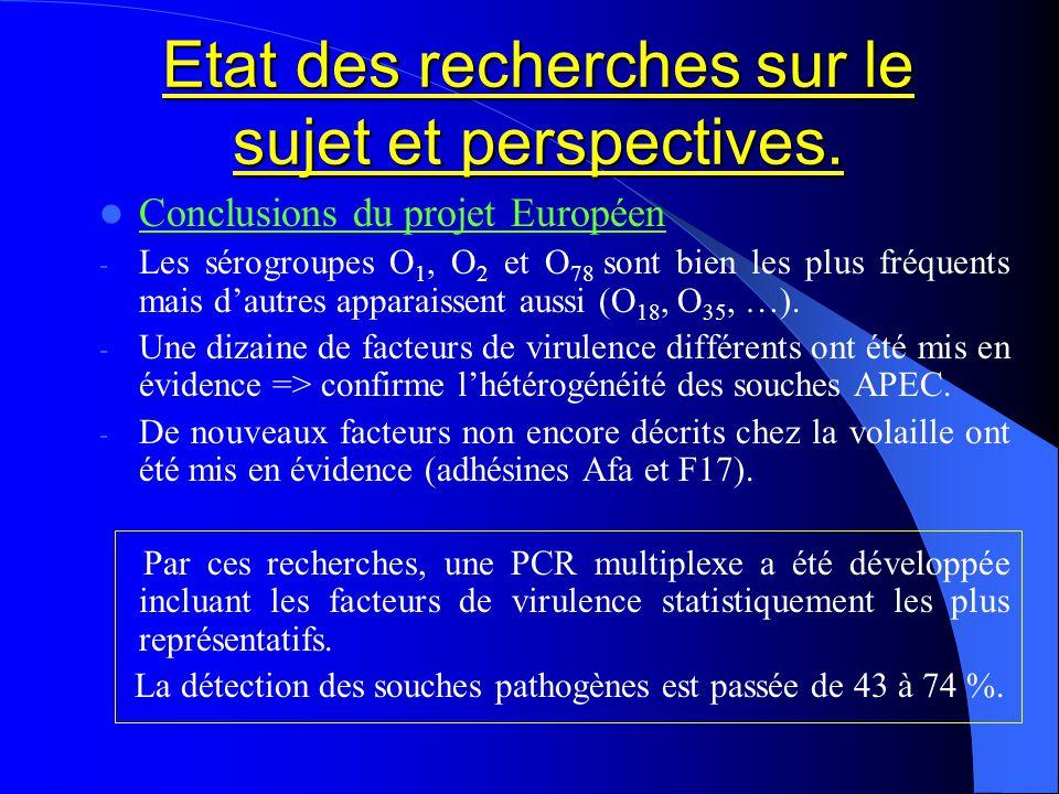 Etat des recherches sur le sujet et perspectives. Conclusions du projet Européen - Les sérogroupes O 1, O 2 et O 78 sont bien les plus fréquents mais