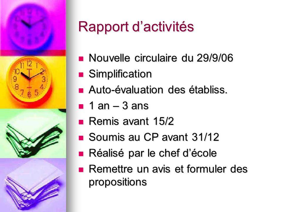 Rapport dactivités Nouvelle circulaire du 29/9/06 Nouvelle circulaire du 29/9/06 Simplification Simplification Auto-évaluation des établiss.